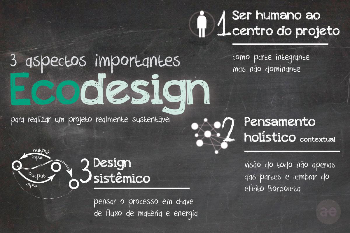 Aspectos importantes para realizar um projeto de Ecodesign: O home ao centro; Pensamento holistico; Design sistêmico;